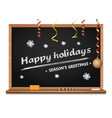 greetings lettering on a wooden blackboard vector image