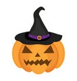 halloween pumpkin icon flat style isolated on vector image
