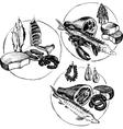 hand drawn butcher shop symbols vector image