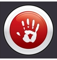 Hand stop button red round sticker vector image vector image