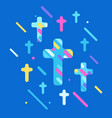 happy easter with crosses vector image vector image