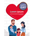 happy valentines day card cute family over red vector image vector image