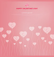 happy valentines day with white hand drawn hearts vector image vector image