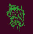 horror monster green face of the darkness vector image vector image