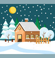 house in rural area at winter night town building vector image vector image