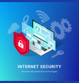isometric internet security banner blue vector image vector image