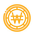 krw won currency icon outline vector image vector image