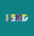 lend concept word art vector image vector image
