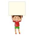 little boy lifting up blank paper vector image vector image