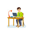 man is engaged at his office job for a computer vector image vector image