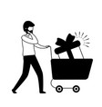 man with smartphone and shopping cart vector image
