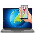 map and location on electronic devices vector image