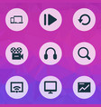 multimedia icons set with display camera replay vector image