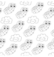 owl and sleep clouds seamless pattern vector image