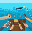 press conference concept news media journalism vector image vector image