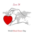 Red Heart in Hand over Grey World Map vector image