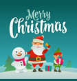 santa claus snowman and elf with gift flat vector image
