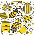 seamless cartoon pattern with honey jars and bee vector image