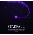 Shining falling star in the night sky vector image vector image