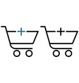 shopping trolley with a plus icon vector image vector image