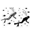 silhouette scuba diver swimming vector image