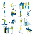 Ski Resort People Icons Set vector image
