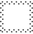 square frame made of black animal paw prints vector image vector image