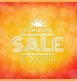 summer sale banner with bokeh vector image vector image