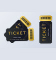 two movie tickets realistic cinema theater vector image