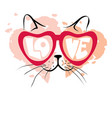 valentine card - enamored cat vector image vector image