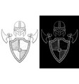 viking warrior set - shield axes and helmet hand vector image vector image