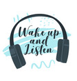 wake up and listen flat vector image