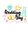 wedding day handwritten postcard vector image vector image