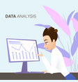 young man looking at business graph data analysis vector image vector image