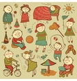 Cartoon children play with toys vector image