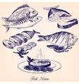set of hand drawn fish dishes vector image