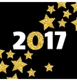 Happy New Year 2017 card with gold star on black vector image