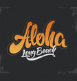 aloha surfing lettering calligraphy vector image vector image
