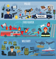 banners firefighter military and police vector image vector image