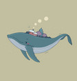 beautiful cartoon whale and winter landscape new vector image vector image