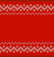 beautiful knitted red jacquard seamless pattern vector image vector image