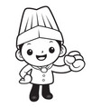 black and white happy chef mascot go for vector image vector image