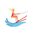 blonde woman in red swimsuit riding waterski vector image vector image