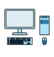 blue desktop computer vector image vector image
