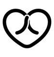 bow tied heart icon black color flat style image vector image vector image