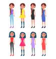brunette braided girls in modern casual looks set vector image