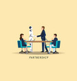 businessman and artificial intelligence robot vector image