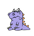 cartoon purple sad dino vector image vector image