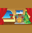christmas card with fireplace 2 vector image