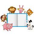 cute animal on note template vector image